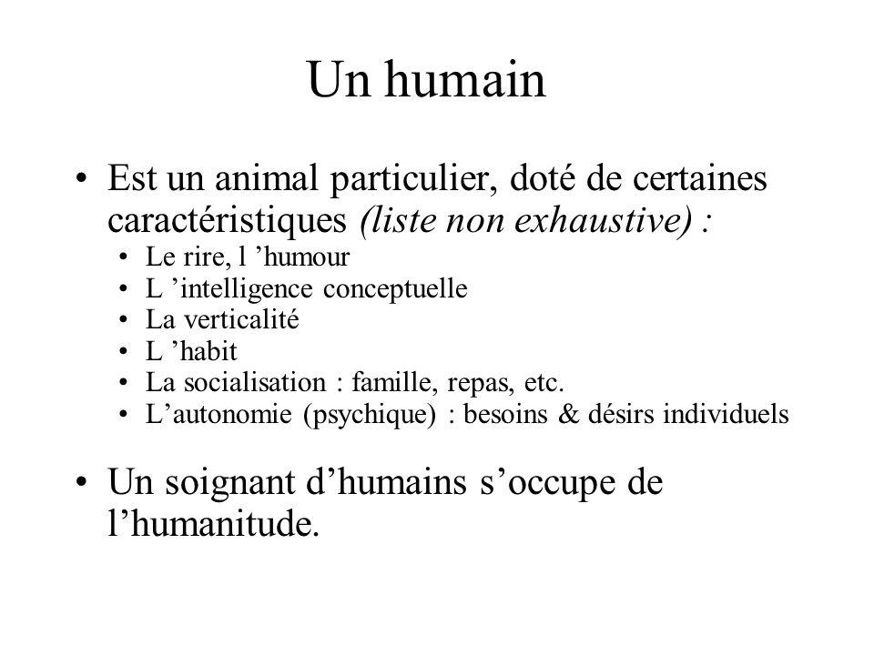 Un humain Est un animal particulier, doté de certaines caractéristiques (liste non exhaustive) : Le rire, l humour L intelligence conceptuelle La verticalité L habit La socialisation : famille, repas, etc.