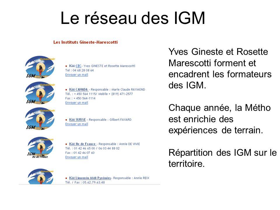 Le réseau des IGM Yves Gineste et Rosette Marescotti forment et encadrent les formateurs des IGM.