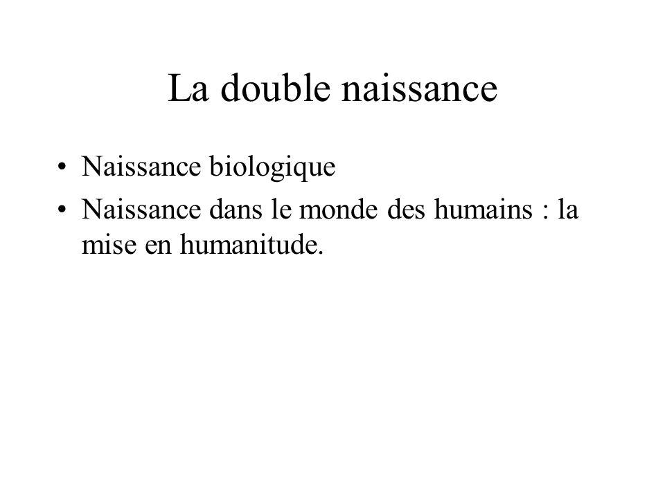 La double naissance Naissance biologique Naissance dans le monde des humains : la mise en humanitude.