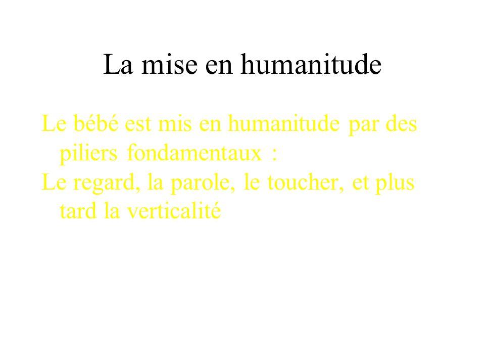 La mise en humanitude Le bébé est mis en humanitude par des piliers fondamentaux : Le regard, la parole, le toucher, et plus tard la verticalité