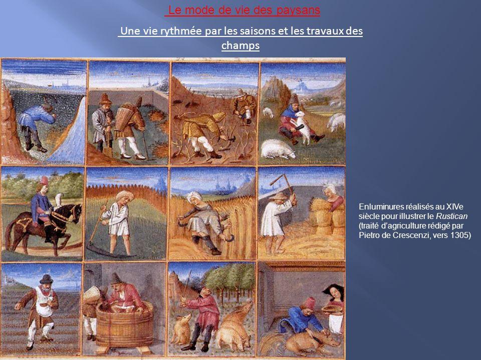 Une vie rythmée par les saisons et les travaux des champs Enluminures réalisés au XIVe siècle pour illustrer le Rustican (traité dagriculture rédigé par Pietro de Crescenzi, vers 1305) Le mode de vie des paysans
