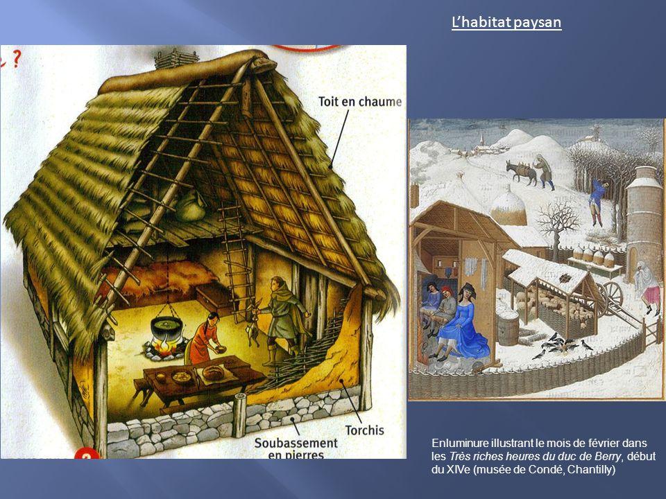 Lhabitat paysan Enluminure illustrant le mois de février dans les Très riches heures du duc de Berry, début du XIVe (musée de Condé, Chantilly)