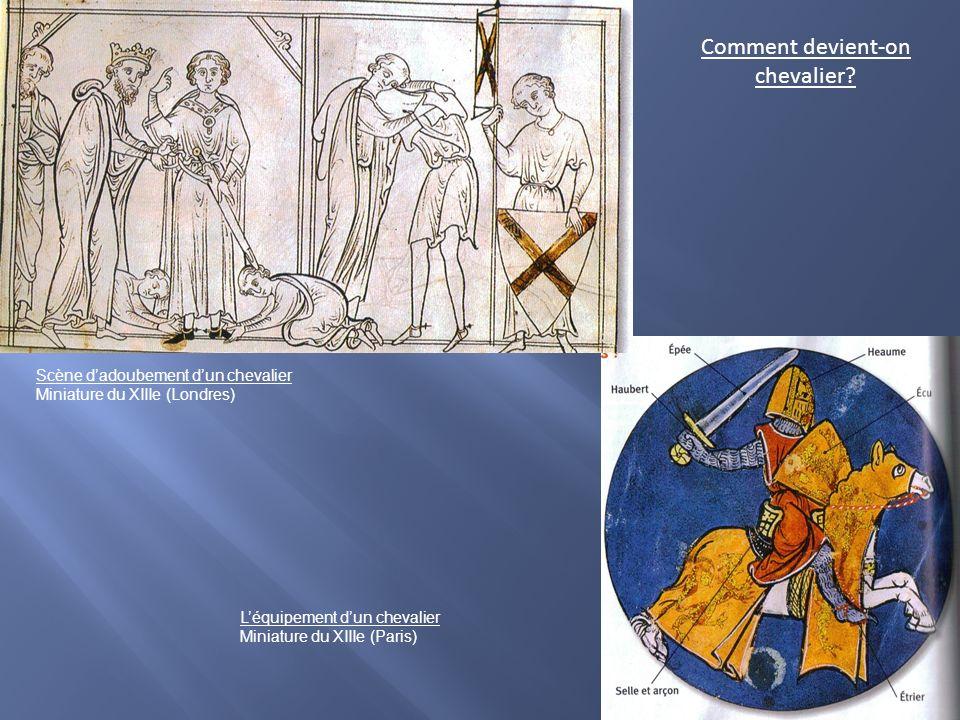 Scène dadoubement dun chevalier Miniature du XIIIe (Londres) Léquipement dun chevalier Miniature du XIIIe (Paris) Comment devient-on chevalier