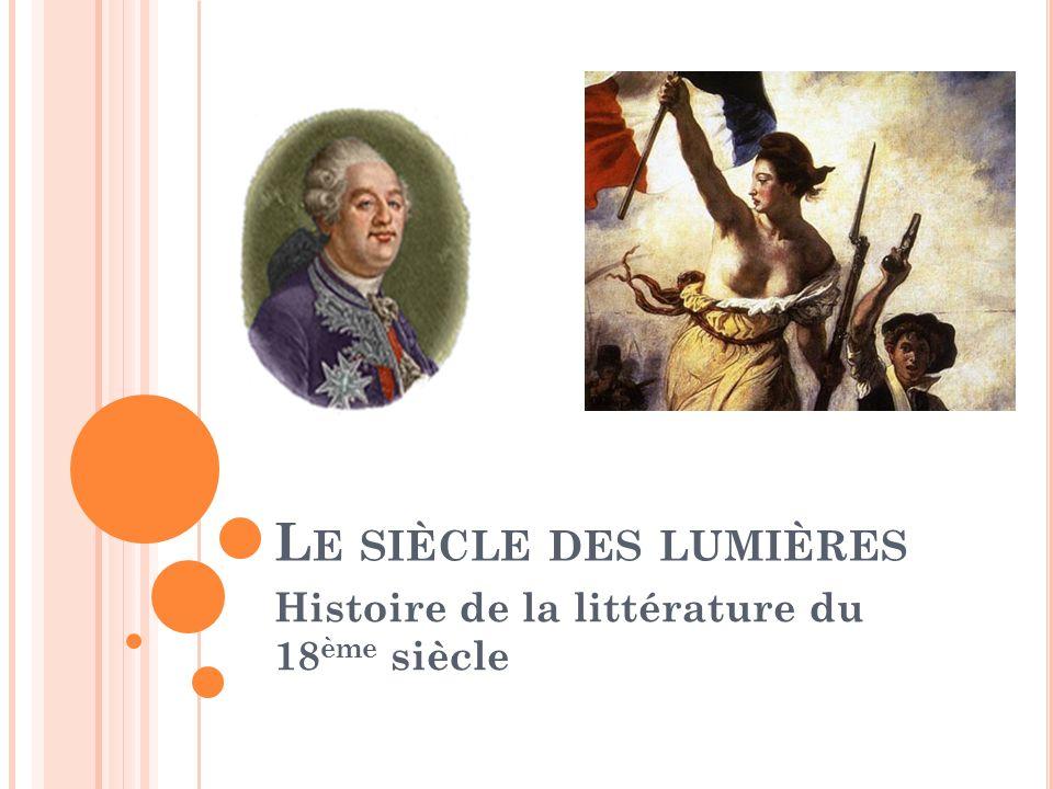 V OLTAIRE (1694-1778) Les idées de Voltaire Le libéralisme selon John Locke (philosophe anglais) L expérience seule nous instruit La tâche de l homme : Prendre en main sa destinée Améliorer sa condition Embellir sa vie par la science, l industrie, les arts