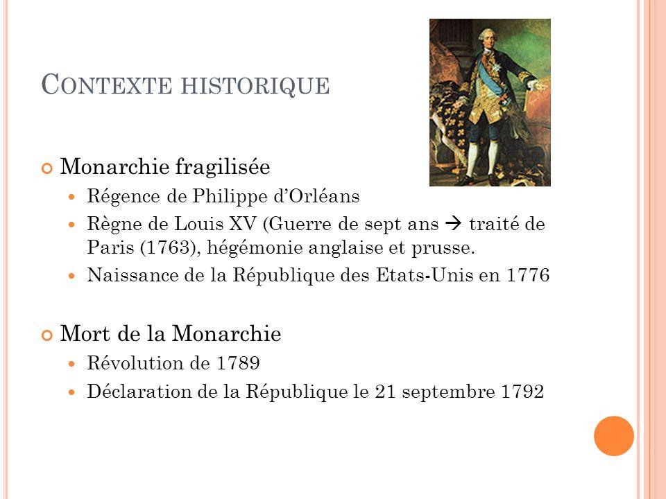 C ONTEXTE HISTORIQUE Monarchie fragilisée Régence de Philippe dOrléans Règne de Louis XV (Guerre de sept ans traité de Paris (1763), hégémonie anglaise et prusse.