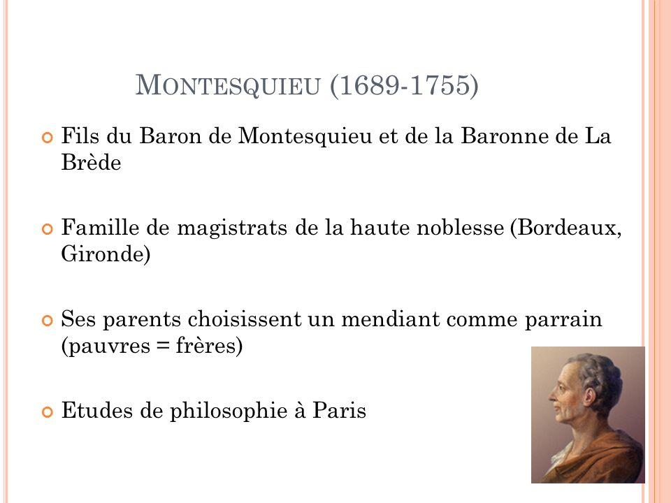 M ONTESQUIEU (1689-1755) Fils du Baron de Montesquieu et de la Baronne de La Brède Famille de magistrats de la haute noblesse (Bordeaux, Gironde) Ses parents choisissent un mendiant comme parrain (pauvres = frères) Etudes de philosophie à Paris