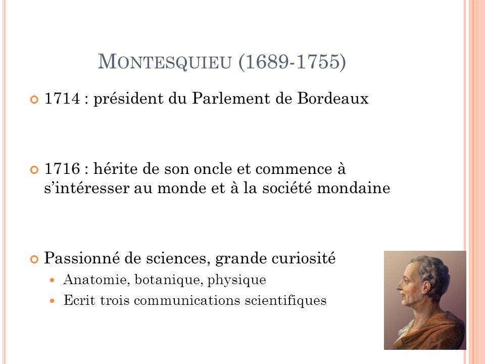 M ONTESQUIEU (1689-1755) 1714 : président du Parlement de Bordeaux 1716 : hérite de son oncle et commence à sintéresser au monde et à la société mondaine Passionné de sciences, grande curiosité Anatomie, botanique, physique Ecrit trois communications scientifiques