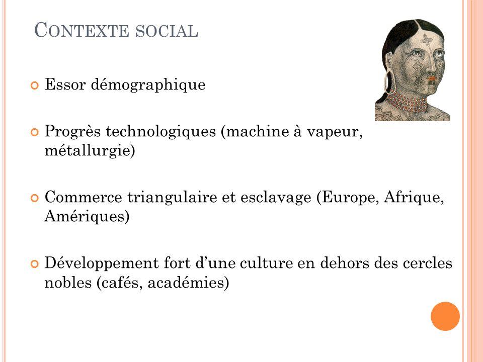 C ONTEXTE SOCIAL Essor démographique Progrès technologiques (machine à vapeur, métallurgie) Commerce triangulaire et esclavage (Europe, Afrique, Amériques) Développement fort dune culture en dehors des cercles nobles (cafés, académies)