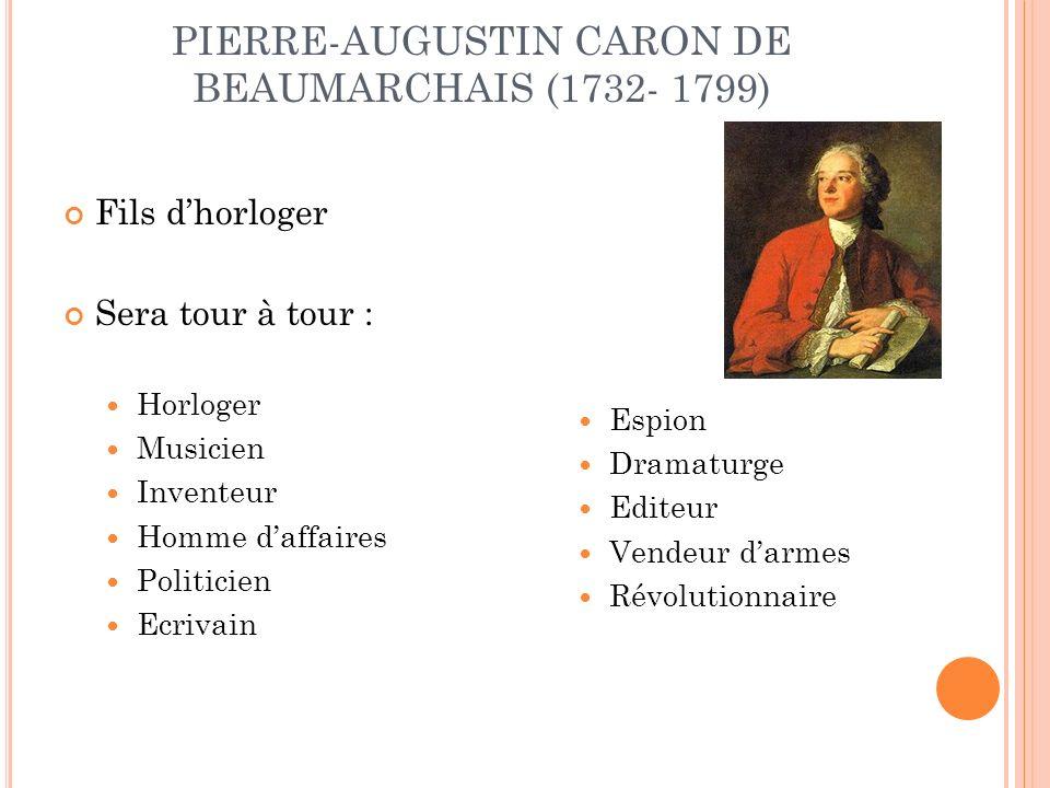 PIERRE-AUGUSTIN CARON DE BEAUMARCHAIS (1732- 1799) Fils dhorloger Sera tour à tour : Horloger Musicien Inventeur Homme daffaires Politicien Ecrivain Espion Dramaturge Editeur Vendeur darmes Révolutionnaire