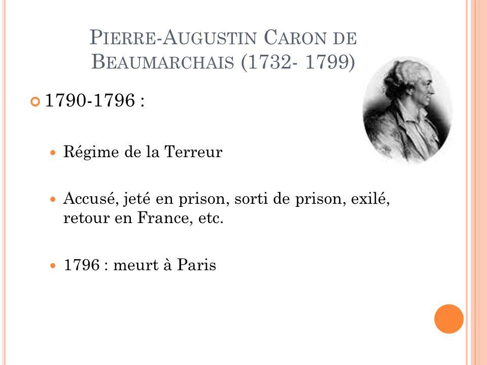 P IERRE -A UGUSTIN C ARON DE B EAUMARCHAIS (1732- 1799) 1790-1796 : Régime de la Terreur Accusé, jeté en prison, sorti de prison, exilé, retour en France, etc.