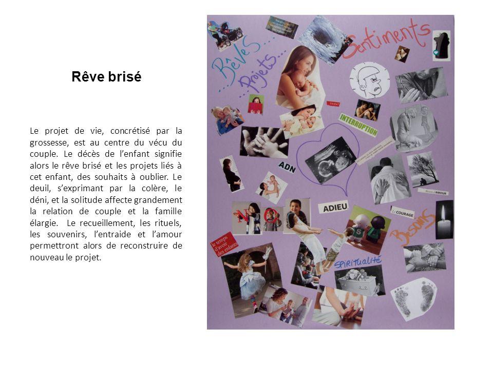 Rêve brisé Le projet de vie, concrétisé par la grossesse, est au centre du vécu du couple.