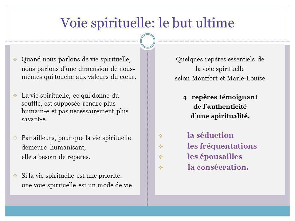Voie spirituelle: le but ultime Quand nous parlons de vie spirituelle, nous parlons dune dimension de nous- mêmes qui touche aux valeurs du cœur.
