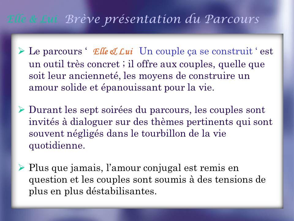 Elle & Lui Brève présentation du Parcours Le parcours Elle & Lui Un couple ça se construit est un outil très concret ; il offre aux couples, quelle qu
