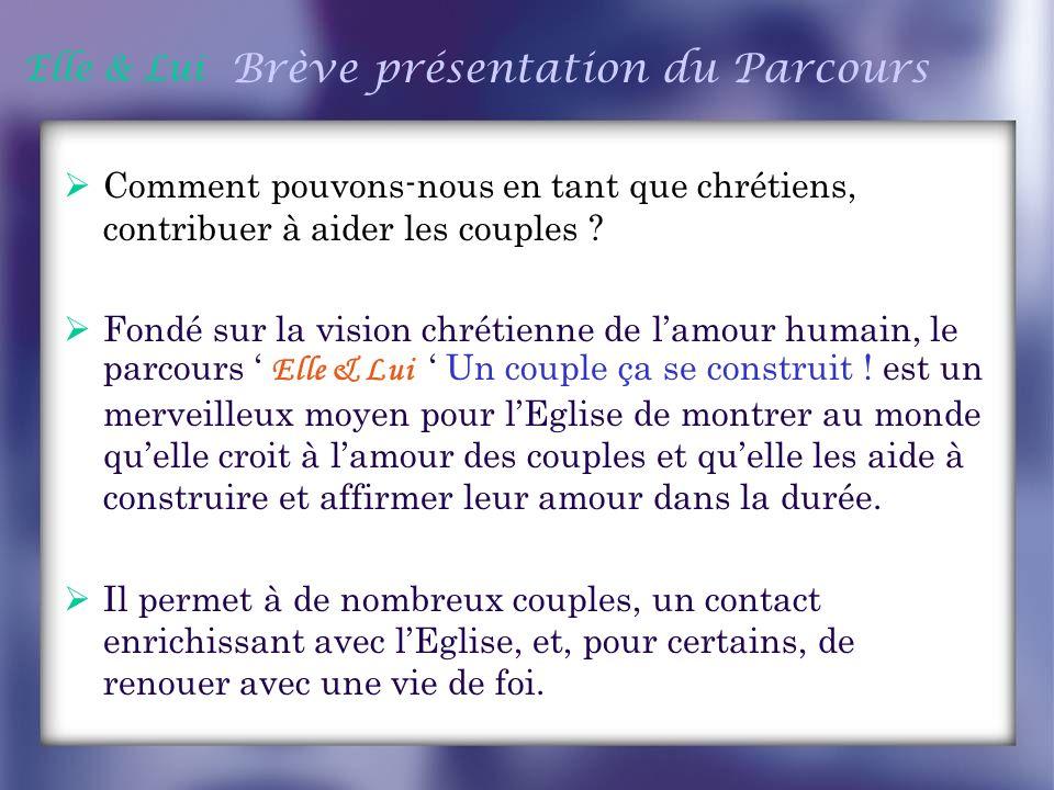 Elle & Lui Brève présentation du Parcours suite Dieu a conçu le mariage comme une aventure qui dure toute la vie.