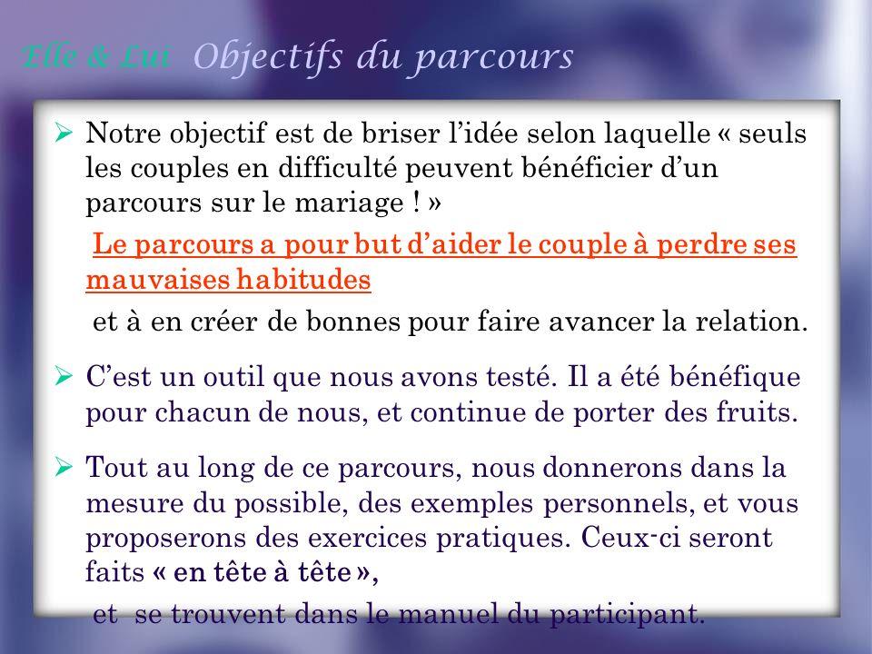 Elle & Lui Objectifs du parcours Notre objectif est de briser lidée selon laquelle « seuls les couples en difficulté peuvent bénéficier dun parcours s