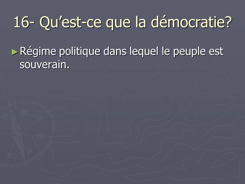 16- Quest-ce que la démocratie. Régime politique dans lequel le peuple est souverain.