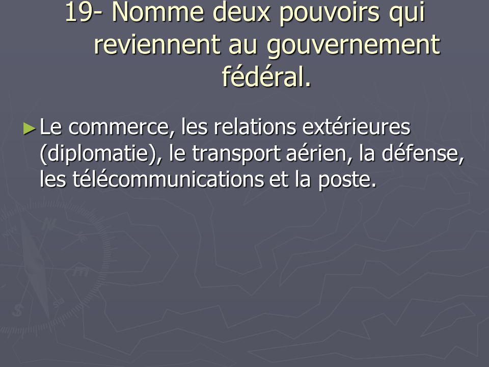 19- Nomme deux pouvoirs qui reviennent au gouvernement fédéral.