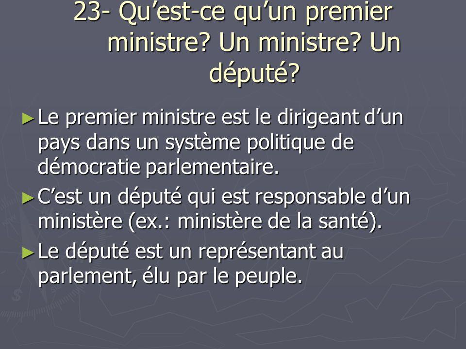 23- Quest-ce quun premier ministre. Un ministre. Un député.