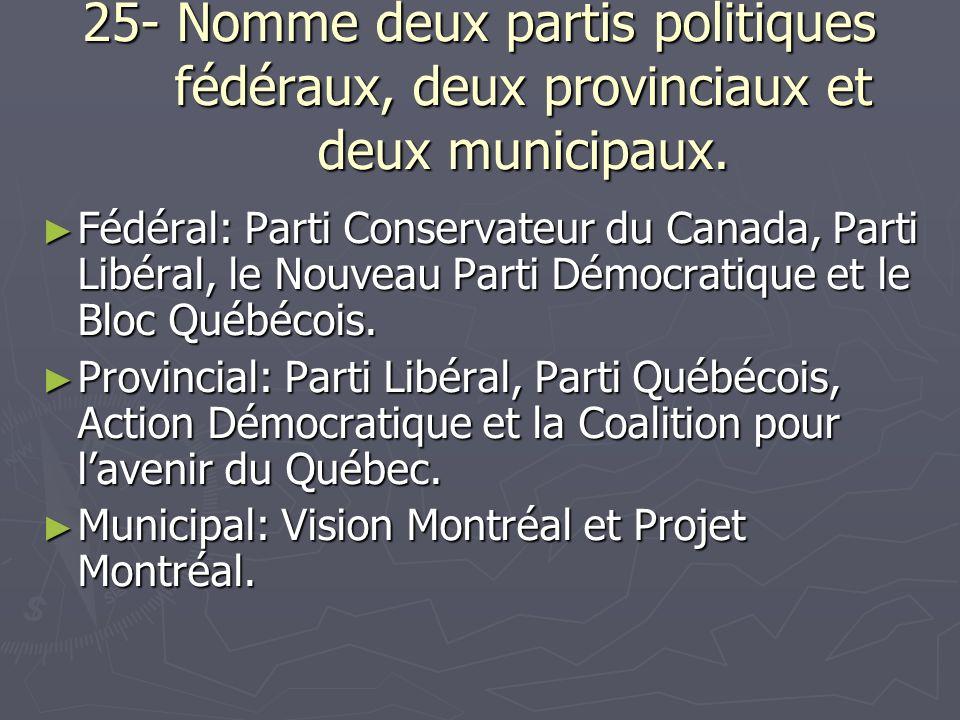 25- Nomme deux partis politiques fédéraux, deux provinciaux et deux municipaux.