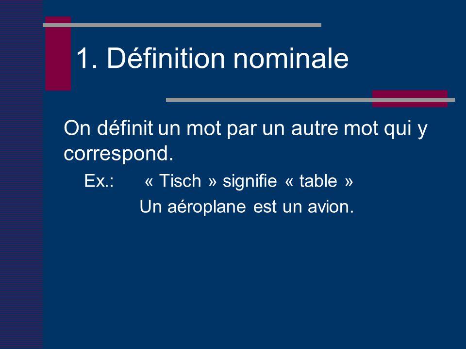 1. Définition nominale On définit un mot par un autre mot qui y correspond.