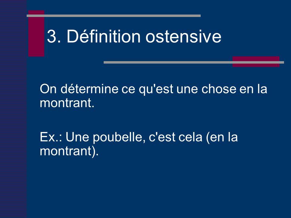 3. Définition ostensive On détermine ce qu est une chose en la montrant.