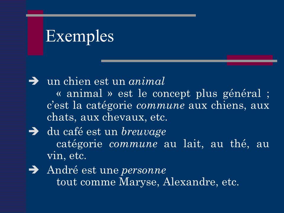 Exemples un chien est un animal « animal » est le concept plus général ; cest la catégorie commune aux chiens, aux chats, aux chevaux, etc.