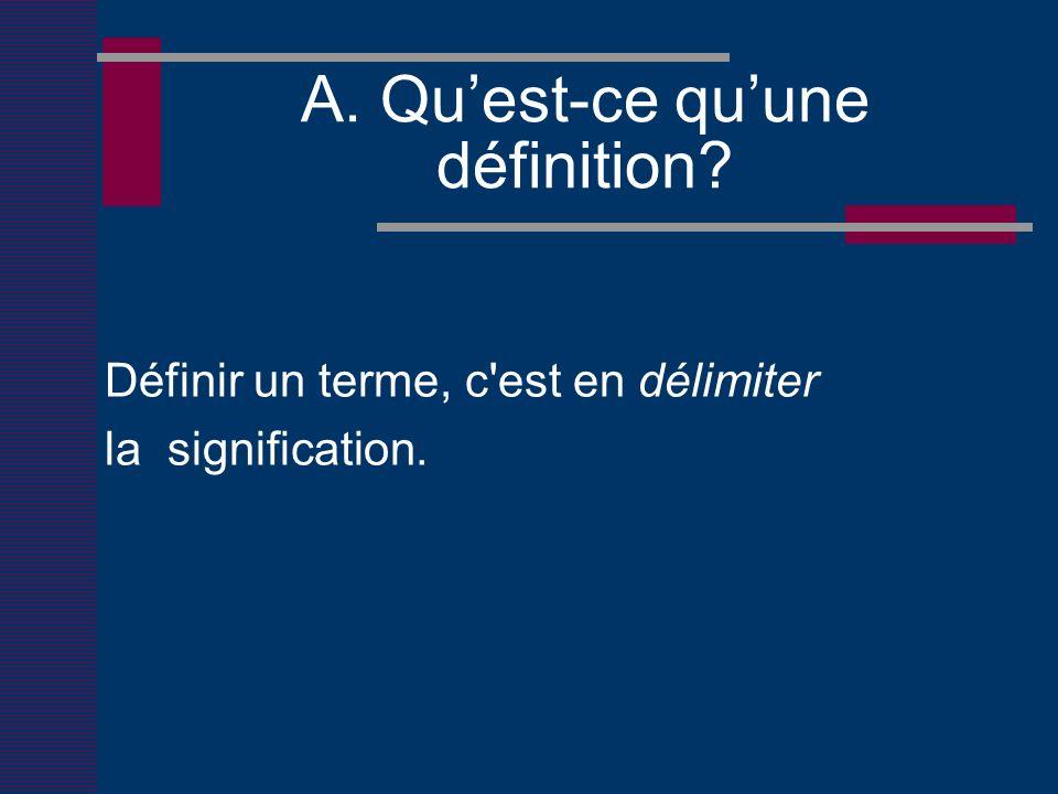 A. Quest-ce quune définition Définir un terme, c est en délimiter la signification.