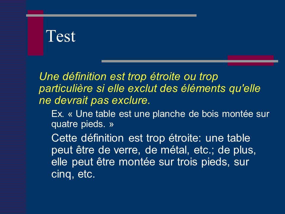 Test Une définition est trop étroite ou trop particulière si elle exclut des éléments qu elle ne devrait pas exclure.