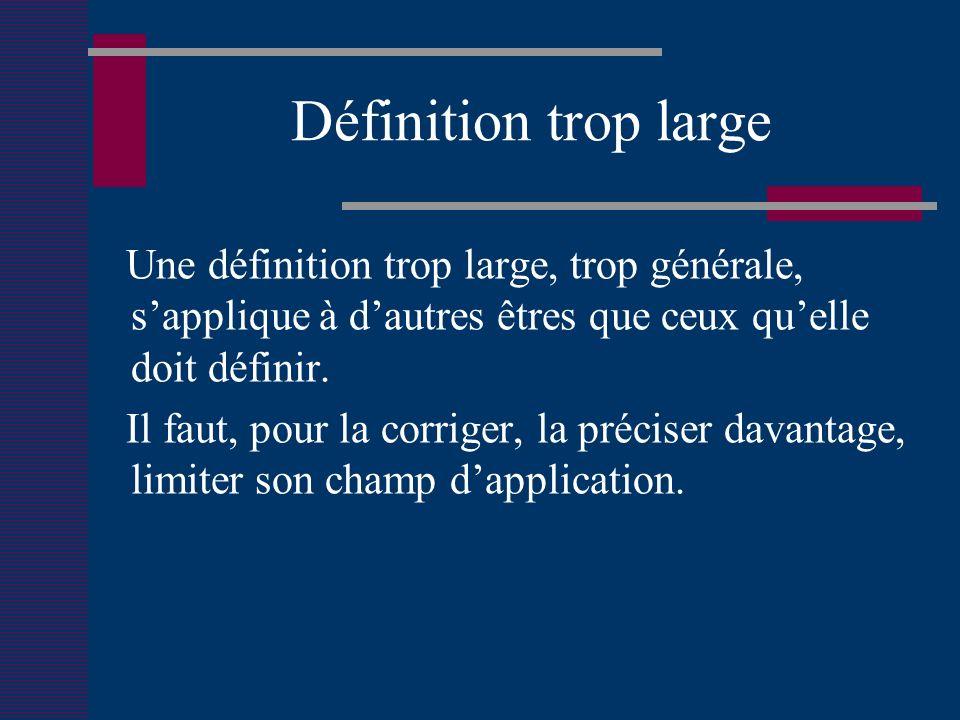 Définition trop large Une définition trop large, trop générale, sapplique à dautres êtres que ceux quelle doit définir.