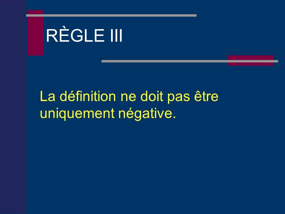 RÈGLE III La définition ne doit pas être uniquement négative.