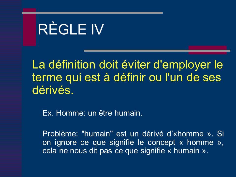 RÈGLE IV La définition doit éviter d employer le terme qui est à définir ou l un de ses dérivés.