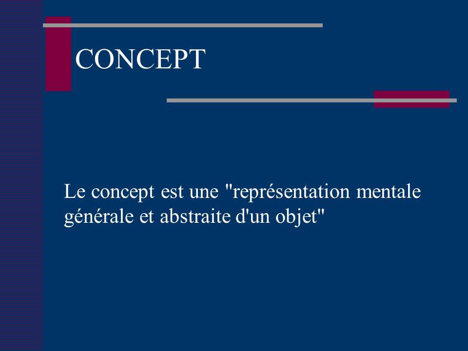CONCEPT Le concept est une représentation mentale générale et abstraite d un objet