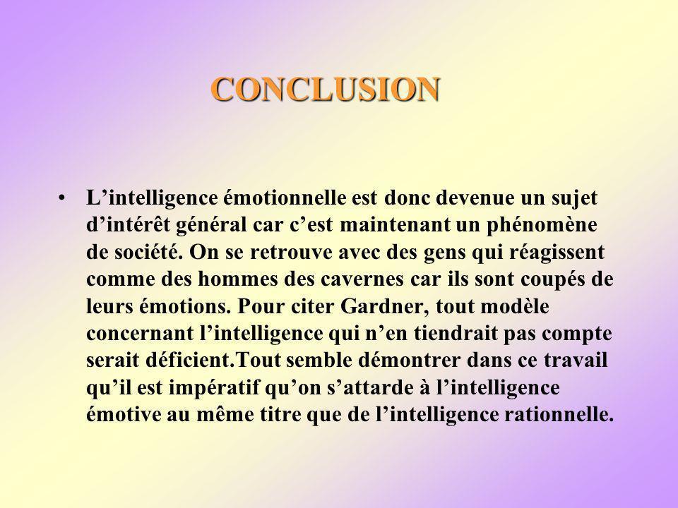 CONCLUSION Lintelligence émotionnelle est donc devenue un sujet dintérêt général car cest maintenant un phénomène de société.