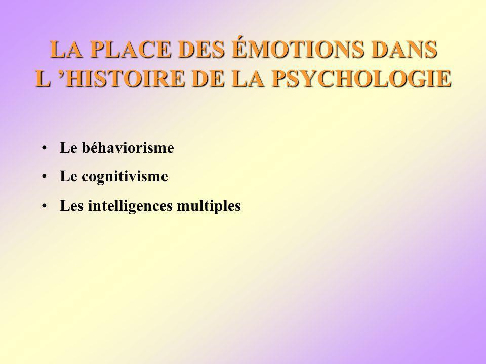 LA PLACE DES ÉMOTIONS DANS L HISTOIRE DE LA PSYCHOLOGIE Le béhaviorisme Le cognitivisme Les intelligences multiples