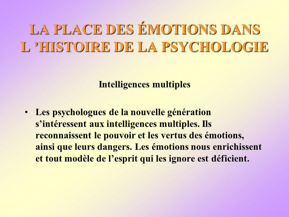 LA PLACE DES ÉMOTIONS DANS L HISTOIRE DE LA PSYCHOLOGIE Intelligences multiples Les psychologues de la nouvelle génération sintéressent aux intelligences multiples.