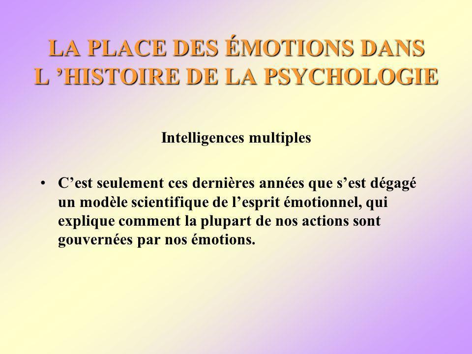 LA PLACE DES ÉMOTIONS DANS L HISTOIRE DE LA PSYCHOLOGIE Intelligences multiples Cest seulement ces dernières années que sest dégagé un modèle scientifique de lesprit émotionnel, qui explique comment la plupart de nos actions sont gouvernées par nos émotions.