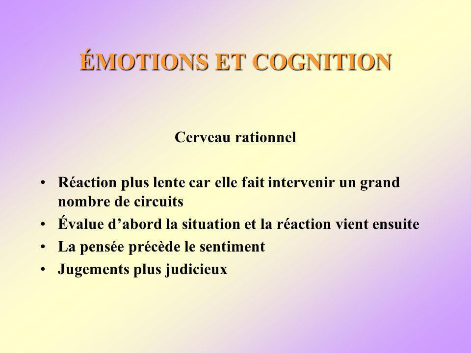 ÉMOTIONS ET COGNITION Cerveau rationnel Réaction plus lente car elle fait intervenir un grand nombre de circuits Évalue dabord la situation et la réaction vient ensuite La pensée précède le sentiment Jugements plus judicieux