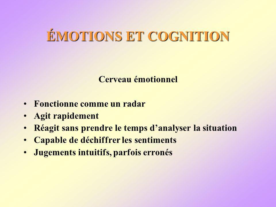 ÉMOTIONS ET COGNITION Cerveau émotionnel Fonctionne comme un radar Agit rapidement Réagit sans prendre le temps danalyser la situation Capable de déchiffrer les sentiments Jugements intuitifs, parfois erronés