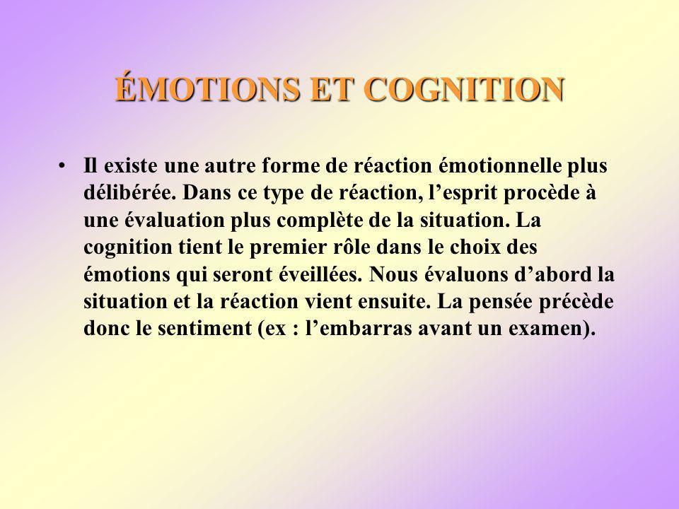 ÉMOTIONS ET COGNITION Il existe une autre forme de réaction émotionnelle plus délibérée.