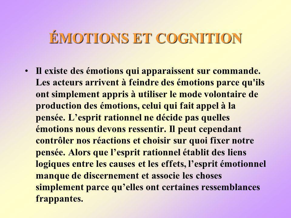 ÉMOTIONS ET COGNITION Il existe des émotions qui apparaissent sur commande.