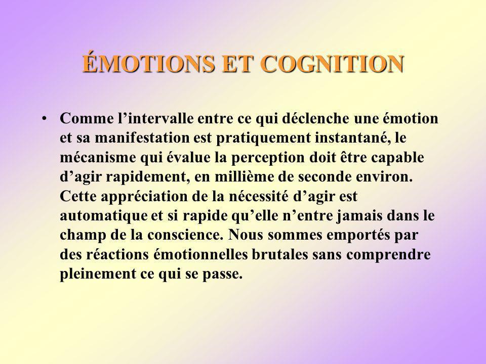 ÉMOTIONS ET COGNITION Comme lintervalle entre ce qui déclenche une émotion et sa manifestation est pratiquement instantané, le mécanisme qui évalue la perception doit être capable dagir rapidement, en millième de seconde environ.