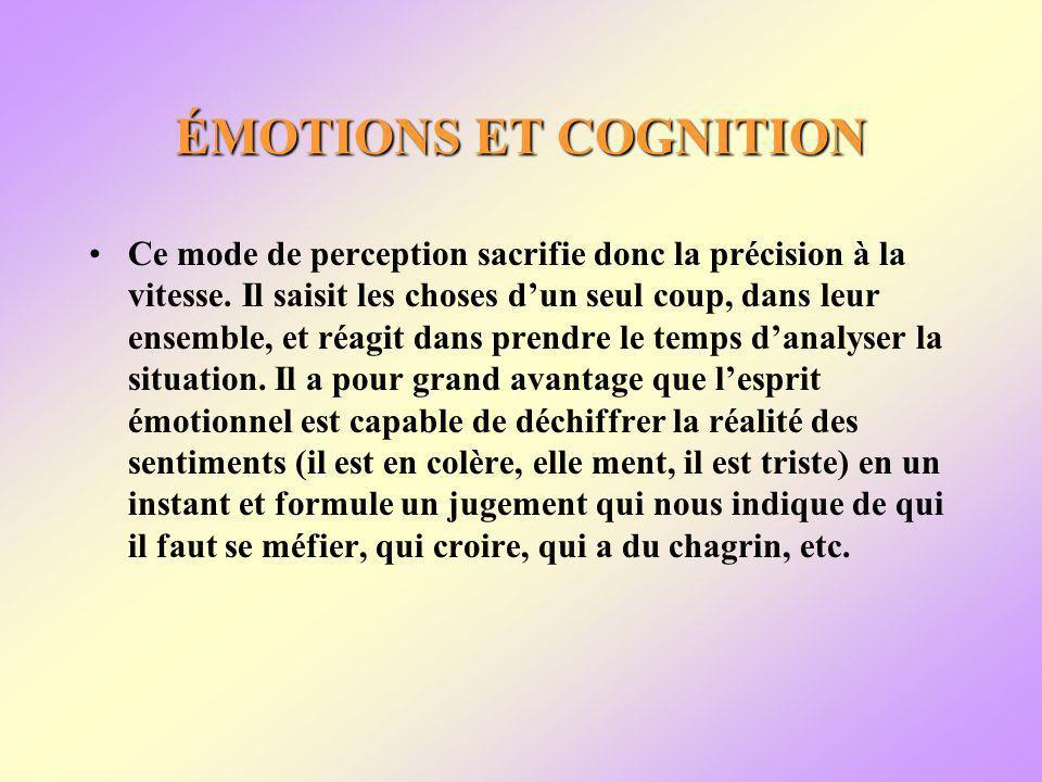ÉMOTIONS ET COGNITION Ce mode de perception sacrifie donc la précision à la vitesse.