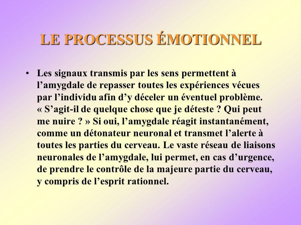 LE PROCESSUS ÉMOTIONNEL Les signaux transmis par les sens permettent à lamygdale de repasser toutes les expériences vécues par lindividu afin dy déceler un éventuel problème.