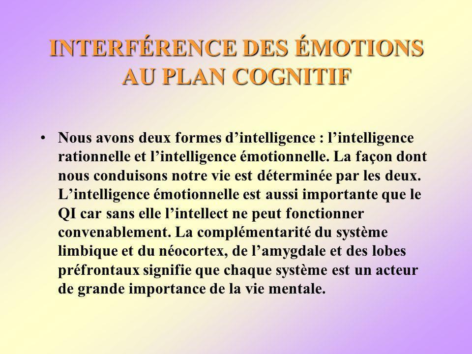 INTERFÉRENCE DES ÉMOTIONS AU PLAN COGNITIF Nous avons deux formes dintelligence : lintelligence rationnelle et lintelligence émotionnelle.