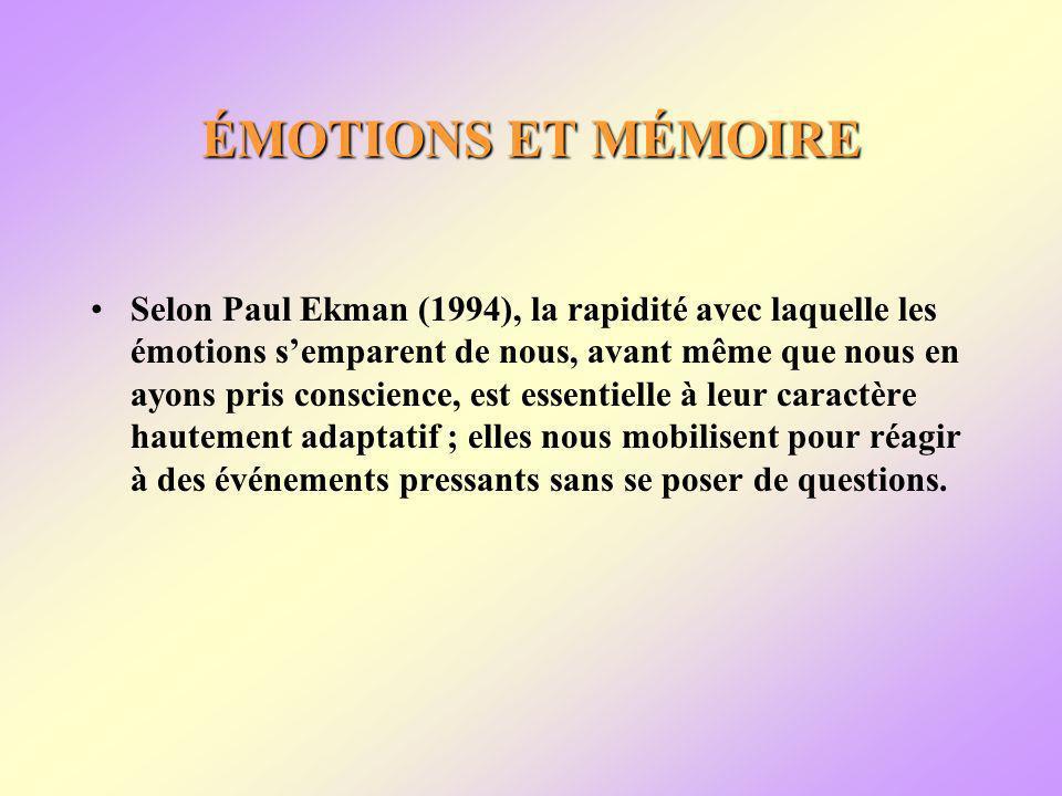 ÉMOTIONS ET MÉMOIRE Selon Paul Ekman (1994), la rapidité avec laquelle les émotions semparent de nous, avant même que nous en ayons pris conscience, est essentielle à leur caractère hautement adaptatif ; elles nous mobilisent pour réagir à des événements pressants sans se poser de questions.