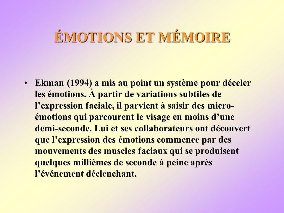 ÉMOTIONS ET MÉMOIRE Ekman (1994) a mis au point un système pour déceler les émotions.