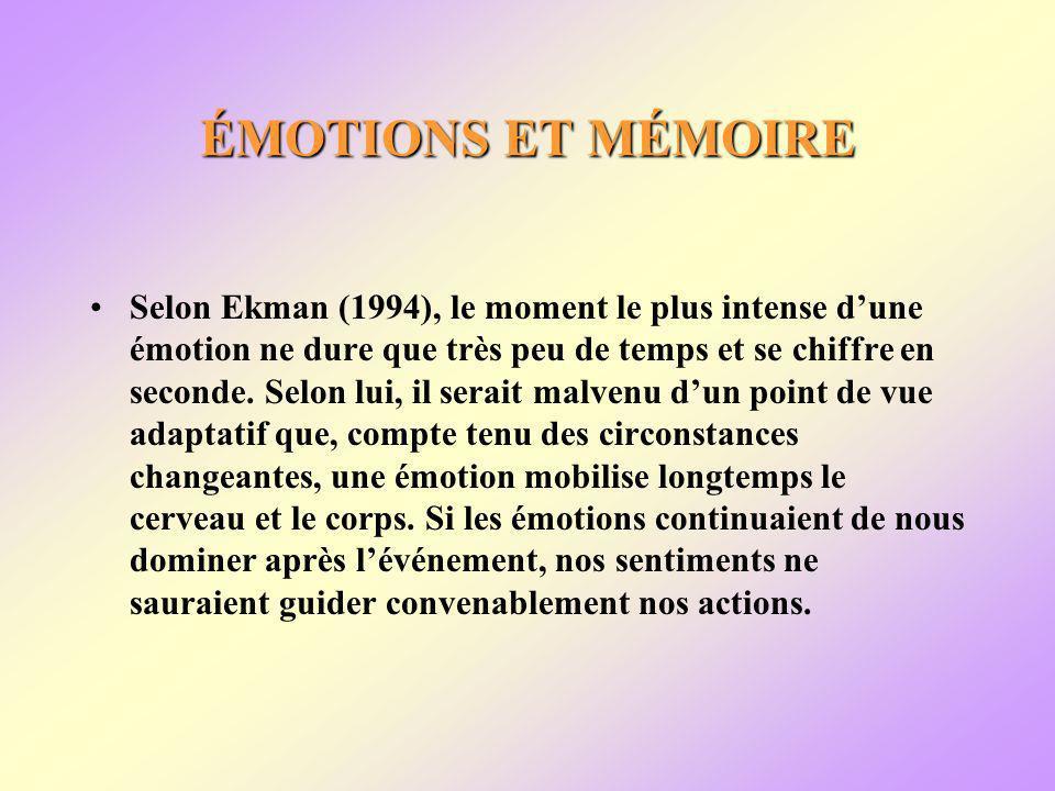 ÉMOTIONS ET MÉMOIRE Selon Ekman (1994), le moment le plus intense dune émotion ne dure que très peu de temps et se chiffre en seconde.