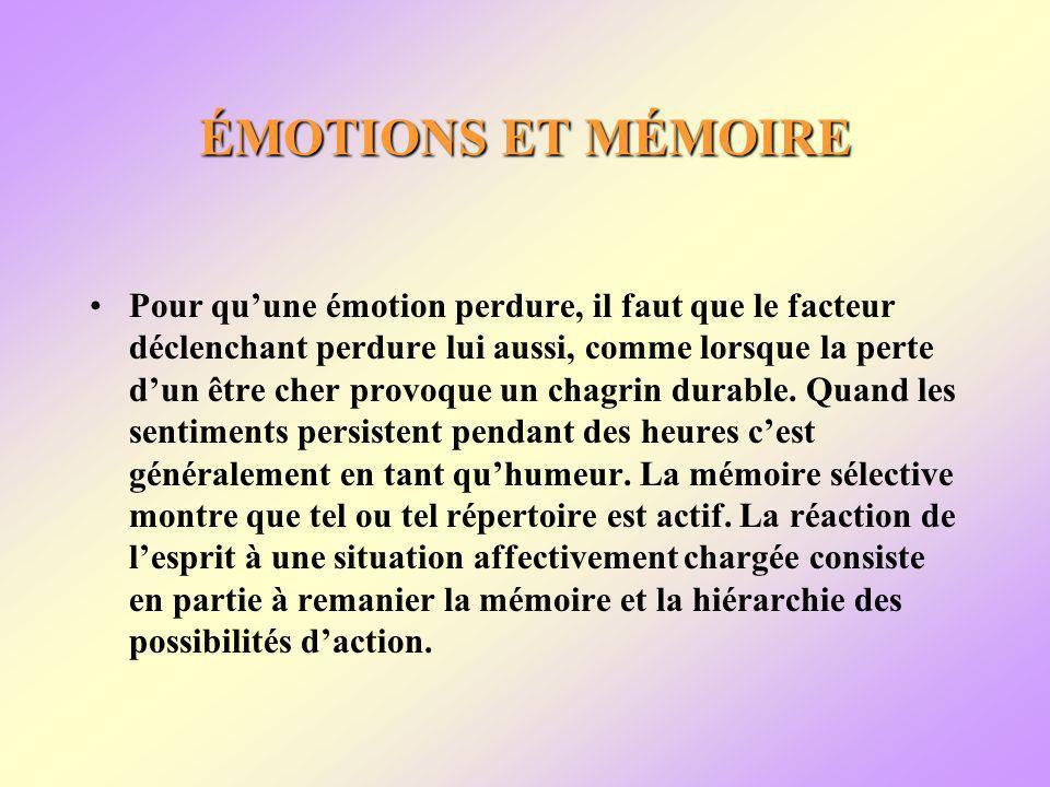 ÉMOTIONS ET MÉMOIRE Pour quune émotion perdure, il faut que le facteur déclenchant perdure lui aussi, comme lorsque la perte dun être cher provoque un chagrin durable.