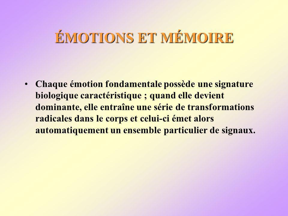 ÉMOTIONS ET MÉMOIRE Chaque émotion fondamentale possède une signature biologique caractéristique ; quand elle devient dominante, elle entraîne une série de transformations radicales dans le corps et celui-ci émet alors automatiquement un ensemble particulier de signaux.