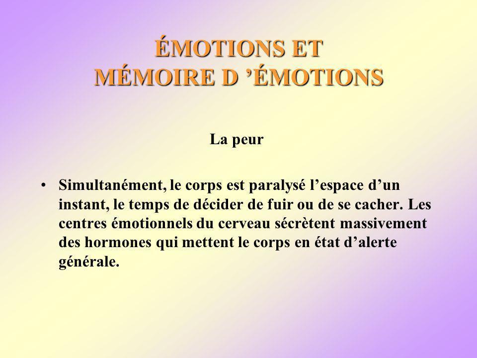 ÉMOTIONS ET MÉMOIRE D ÉMOTIONS La peur Simultanément, le corps est paralysé lespace dun instant, le temps de décider de fuir ou de se cacher.